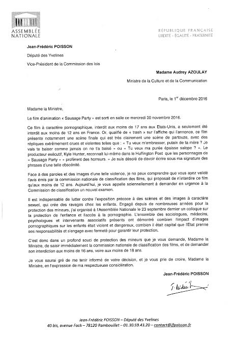 lettre-jfpoisson-a-la-ministre-de-la-culture-sausage-party