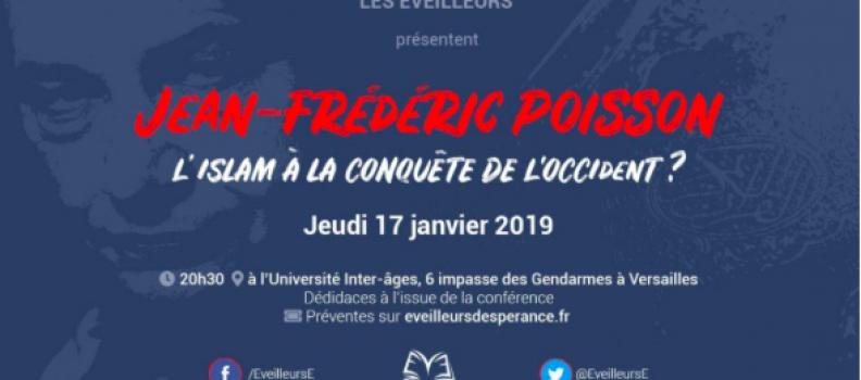 Jean-Frédéric Poissondonnera une conférence jeudi 17 janvier à Versailles à 20h30