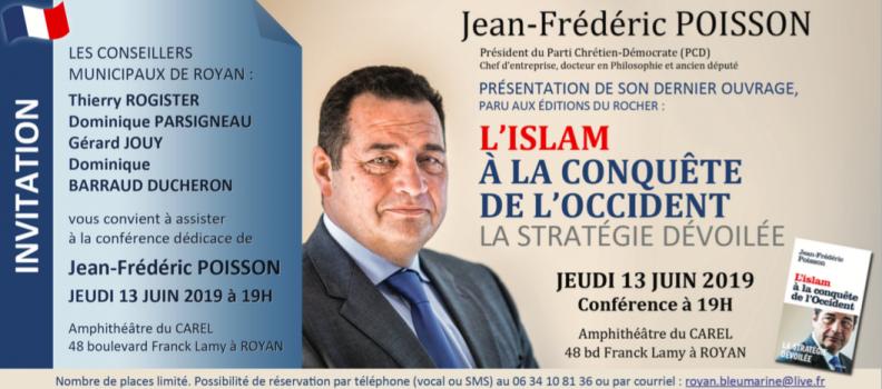 Conférence de Jean-Frédéric Poisson le 13 juin à Royan